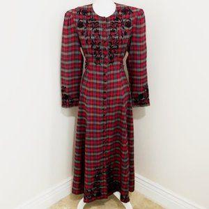 Vintage Sarah Elizabeth Red Plaid Maxi Dress